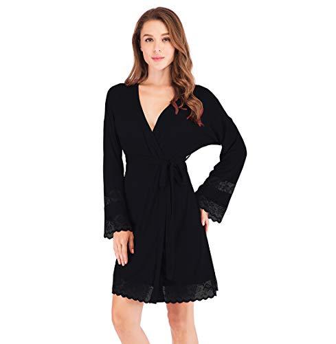 Mini Balabala Damen Baumwolle Bademantel Morgenmantel Frauen Hausmantel V Kragen Sauna Leicht Mantel Kimono Klassische Herbst Robe Nightwear Morgenmantel mit Taschen