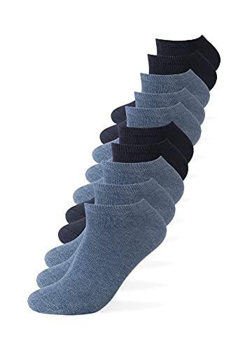 Camano Sneaker Socken Damen und Herren (10x Paar) Classics mit Baumwolle in Blau 39-42