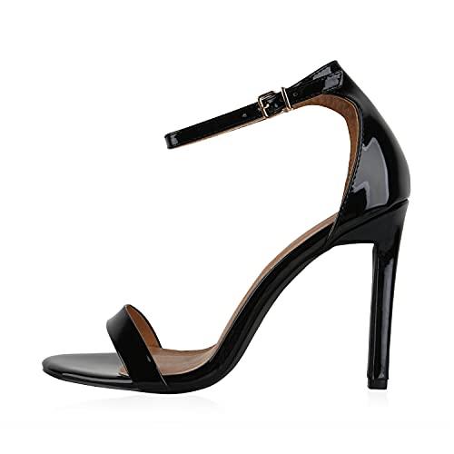 Giralin Sandalias de tacón alto para mujer, elegantes, estilo Stiletto, color Negro, talla 38 EU