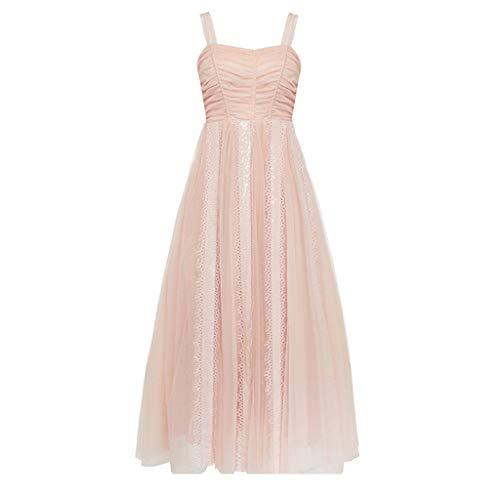 Vestido de Noche Largo con Lentejuelas Rosadas de Malla para Mujer. Ailin Home (Color : Nude Pink, Tamaño : XS)