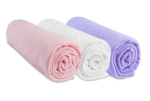 Lot de 3 draps Housse Coton - 70x140 - Rose Blanc Parme