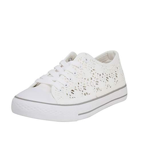 Fitters Footwear That Fits Damas Zapato Deportivo Nina Tela Zapatilla Deportiva con Aspecto Crochet para Verano (45 EU, Blanco)