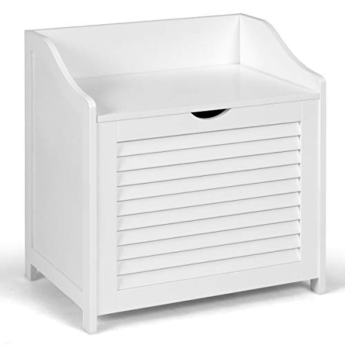 COSTWAY Cesto de Ropa Sucia Mueble de Madera con Tapa Banco de Lavandería 50x34x53 centímetros para Baño Color Blanco