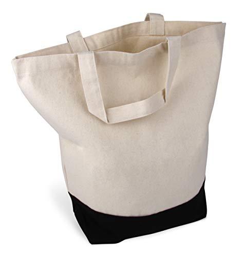 Cottonbagjoe stylische geräumige Tragetasche mit kurzen Henkeln Baumwolltasche Stofftasche Shopper Handtasche mit großem Boden 1 Tasche