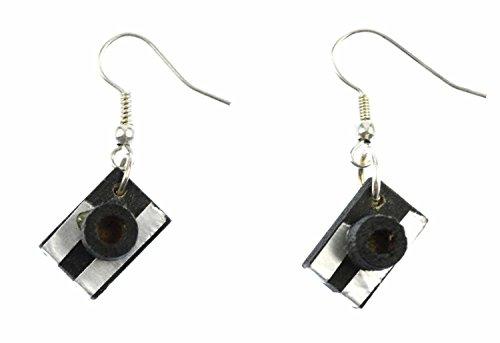 Miniblings camara pendientes percha de la camara del fotografo Fotografía Madera - plata I joyería de los pendientes pendientes de la manera hecha a mano