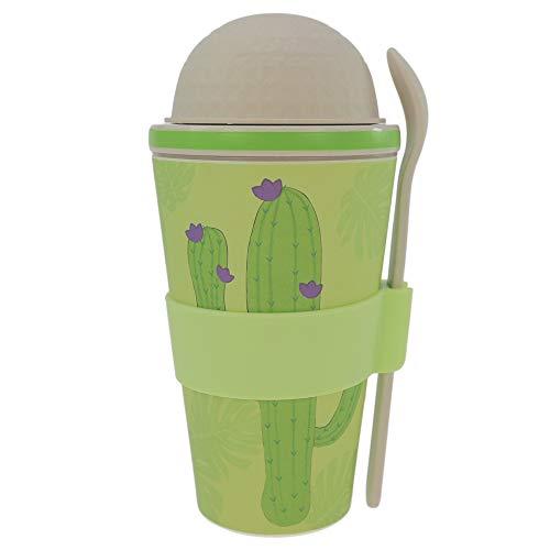 ebos Vaso de cereales para llevar, de bambú, para cereales, yogur, reutilizable, respetuoso con el medio ambiente, apto para lavavajillas, varios diseños (cactus)
