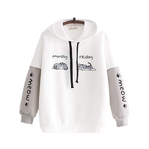 Teenager Kawaii Hoodies Cute Kitty Print Hooeded Tops Casual Sweatshirt Pullover Warm Hoodies, weiß, One size