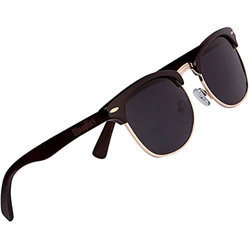 WOODIES Polarized Half-Rim Ebony Wood Sunglasses for Men and Women   Black...