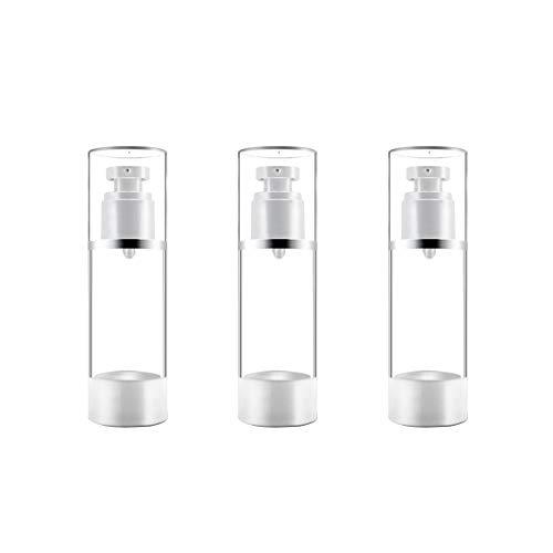 3 Nachfüllbare Airless-Pumpflaschen, Leerer Behälter für Vakuumcreme/Lotionspender, Flüssigkosmetik Sprühglas Toilettenartikelflaschen für Make-up Stiftungen Travel (30ml, 1 oz),...