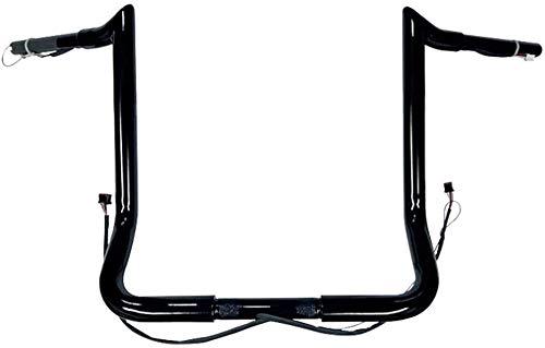 Dominator Industries 1 1 4  PRE-WIRED 14  Black Meat hook Monkey Bar Ape Hangers Compatible With Harley-Davidson Bagger Electra - Handlebars 2014-2020