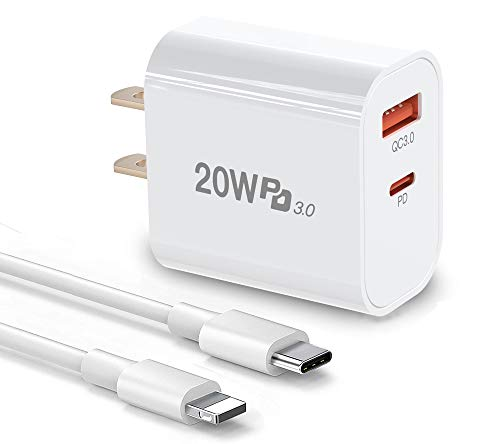 iPhone Fast Charger, 20W Fast Charging Dual-Port Wall Charger Plug with Cables, PD/QC3.0 USB C Power Adapter for iPhone 12,12 Mini,12 Pro Max,iPhone 11 Pro Max, iPad Pro, AirPods Pro, and More
