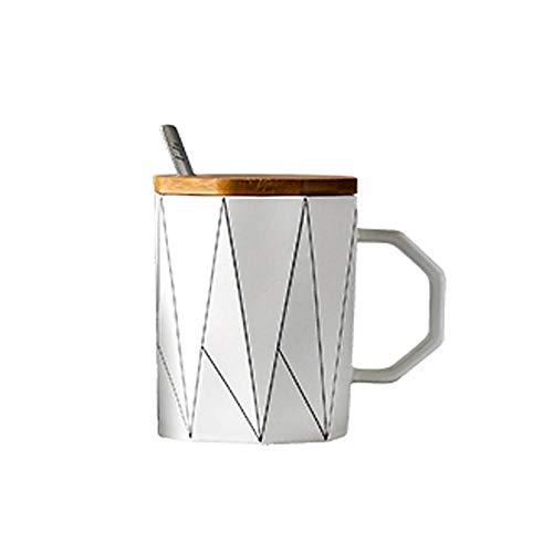 no band Matte geometrische Tasse mitBambusdeckel Metalllöffel Linie Keramik Tasse Tassen Mikrowelle Milch Tasse Home Office Drinkware 400ml-03