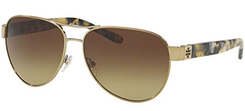 Tory Burch TY6051 Womens Gold Frame Brown Lens Aviator Sunglasses