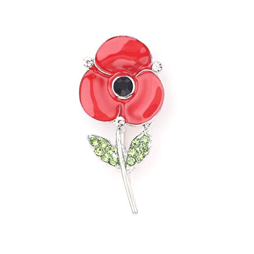 Fuyamp Womens Poppy Crystal Rhinestone Flower Rememberance Enamel Brooch Pin Gifts(02#)