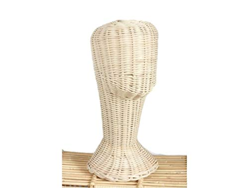 Mannequin Wicker Rattan Head Wig Stand Handcraft Antique Display Handmade