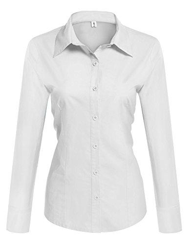 UNibelle Bluzka damska taliowana koszula z długim rękawem koszula robocza koszula baszowa koszula biznesowa - elegancka biała bluzka jednokolorowa