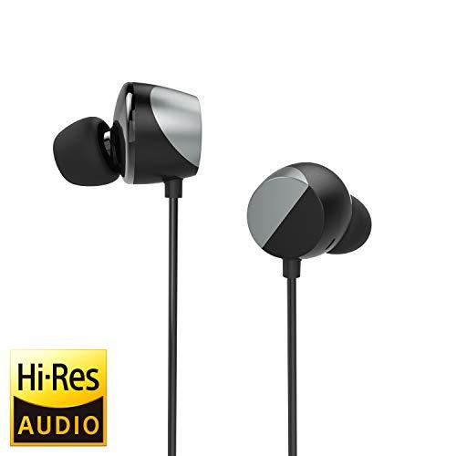 TUNAI Creative Drum Hi-Res Kopfhörer - In-Ohr Kopfhörer mit extra großen 13 mm Treibern für verbesserten Raumklang und Basswiedergabe (Silbergrau)