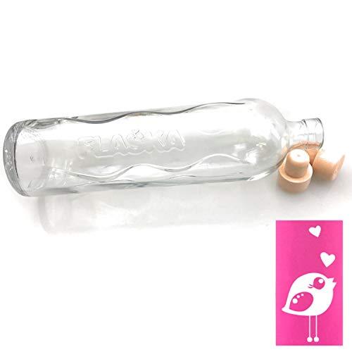 Kerafactum Design Symbol Vogel Birdy Trinkflasche Wasserflasche 0,75 Ltr. Flaska Glas Wasser Trink Flasche Glasflasche zum regelmäßigen Trinken Wassertrinken 2 Korken und 1 Flaschenbürste