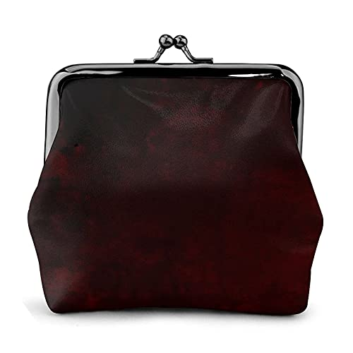 Coin Purse Wallet PU Leather Bag Essential Deep Dark Burgundy Mottled Urban Grunge Womens Wallet Clutch Bag Ladies Retro Vintage Print Small Hasp