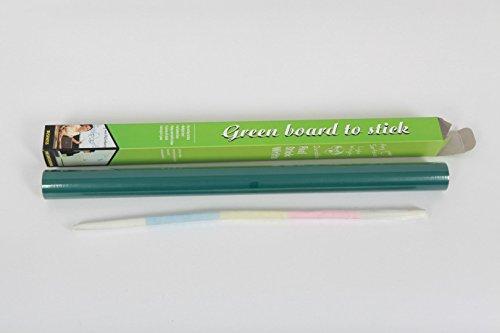 Ricisung Autocollant tableau noir Sticker mural Taille totale 200 x 45 cm avec 5 craies (Tableau blanc Sticker mural un stylo à encre), Green