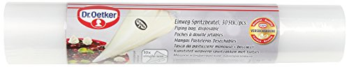 Dr. Oetker Einweg-Spritzbeutel Nachfüllpack, Spritztüten zum Verzieren, Backzubehör zum Dekorieren (Farbe: transparent/weiß), Menge: 1 Stück