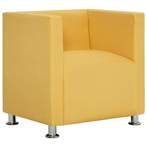 vidaXL Sillón Forma Cubo Cuadrado Tapizado Poliéster Diseño Moderno Elegante Butaca Vintage Estilo Le Corbusier Estructura Madera Cromados Amarillo