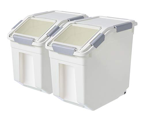 LISM 2 Pack Dog Food Storage Container with Scoop,Large Airtight Pet Dog Food Bin,Container for Dog Treats Rice,Dog Cat Dry Food Bin,Baking Supplies,Flour,Rice,Kitchen Pantry Cereal(25 LB)