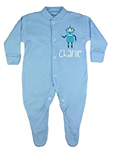 TeddyTs Personalised Robot Blue Baby Sleepsuit (0-3 Months)