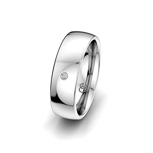 Moncoeur Trauring Classic Love + 925 Sterling Silber Ehering für Damen mit Swarovski Stein + klassische Trauringe + Damenring + Silberring + Comfort-Fit + Luxusetui (59 (18.8))