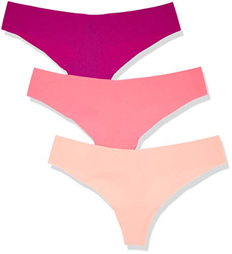 Amazon-Marke: Iris & Lilly Damen Stringtanga aus Mikrofaser, 3er-Pack, Mehrfarbig (Berry Diva/Neon Nectar/Neon Hot Pink), XL, Label: XL