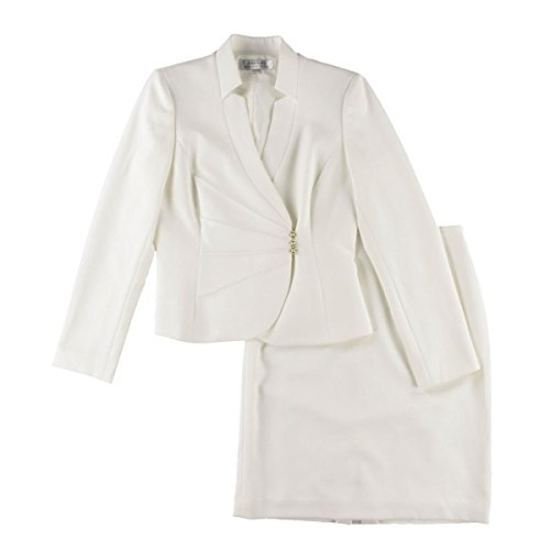 Tahari ASL Asymmetrical Jacket Skirt Suit, 8, Ivory/White