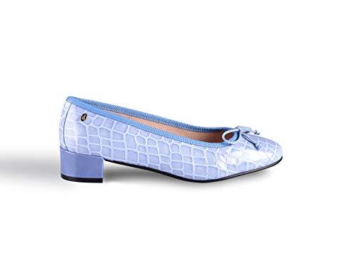 Zapatos Bianca Celeste tacón bajo Fabricado en España ANNA MILAN (42 EU)