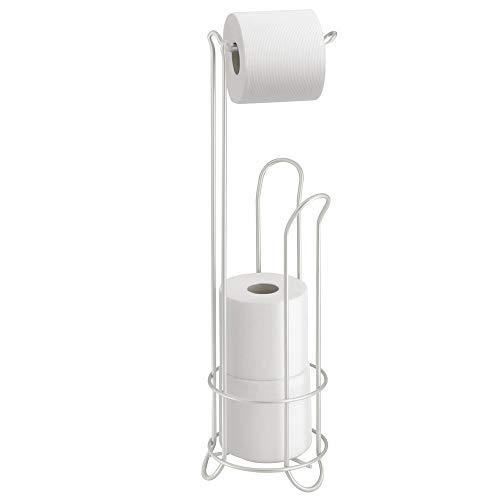 iDesign Classico Klorollenhalter, Toilettenpapierhalter ohne Bohren aus Metall, perlmuttweiß