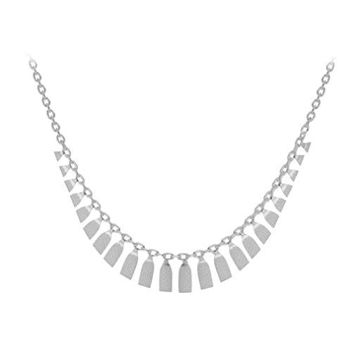 Tuscany Silver Women's Sterling Silver Graduated Textured Cleopatra Trace Adjustable Chain Necklace 41cm/16'- 43cm/17'