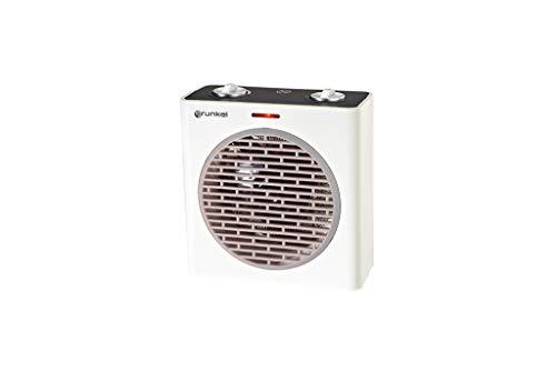 Grunkel - CAR-G20 - Calefactor portátil con función ventilador. 2 potencias, termostato regulable y protección contra sobrecalentamiento - 2000W - Blanco