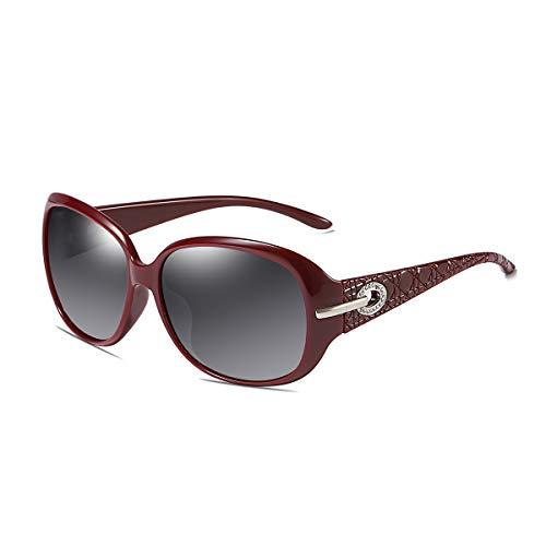 GUANGE Gafas de sol polarizadas para mujer, con marco de gran tamaño, protección UV400, marco grande, gafas deportivas para conducir, ciclismo, golf, pesca, correr, vela, regalos para damas, rojo vino