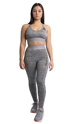 Arnold Gym Leggings deportivos para mujer, rendimiento dinámico, cintura alta, bolsillos laterales, para yoga, fitness, color gris, Mujer, color gris, tamaño 49