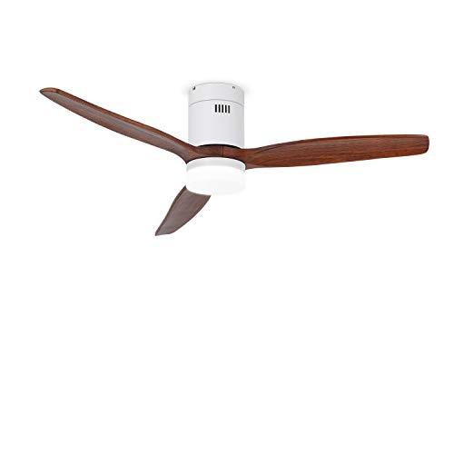 IKOHS LIGHTCALM White - Ventilador de Techo con Luz, Silencioso, 3 Aspas, Mando a Distancia, 132 cm de Diámetro, 6 Velocidades,Temporizador, Aspas de Madera, Motor DC, 40W (Madera Oscura)
