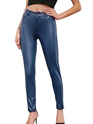 Leggings de entrenamiento para mujer de piel, cintura alta, pantalones de yoga atléticos para mujer con bolsillos, azul oscuro, S