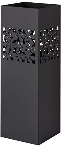 Baroni Home Portaombrelli Quadrato in Metallo con Intaglio Rettangolare Fiori Nero 15.5X15.5X49 cm con Gancino e Vaschetta Scolapioggia Rimovibile