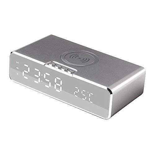 IPOTCH Reloj Despertador Digital con Cargador inalámbrico Reloj Despertador LED de Escritorio con termómetro y Cargador inalámbrico USB de 10W para la - Blanco