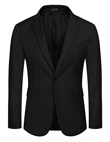 COOFANDY Mens Suit Blazer Slim Fit Suit Coat Jacket Dress Blazer Business Coats (Black XXXL)