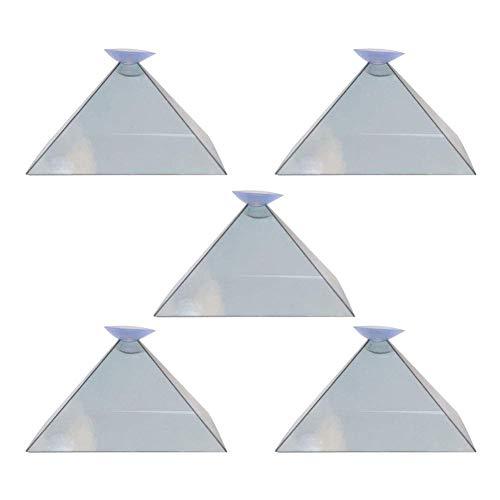 Ztoma Pantalla Proyector, Pirámide Pantalla Proyector, 3D Holograma Pirámide Pantalla Proyector, Vídeo Soporte Portátil para Smart Teléfono Móvil - 5pcs