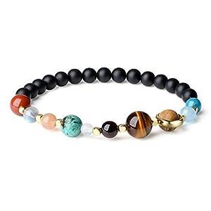 coai Geschenkideen Solar System Armband Galaxie Armband aus Matt Onyx und Edelsteine in Größe S