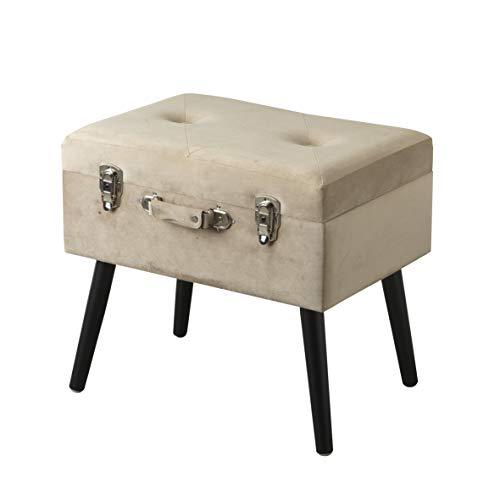 pouf 50x50 Baroni Home Pouf Contenitore a Forma di Valigia in Velluto
