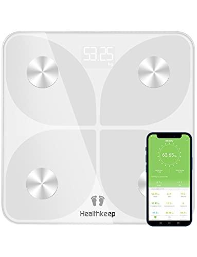 Báscula Grasa Corporal Báscula de Baño Digital, Balanza Bluetooth Inteligente con Análisis de 13 Funciones, Báscula Electrónica Monitores con App para Peso Corporal, Grasa Crporal, IMC, BMR (Blanco)