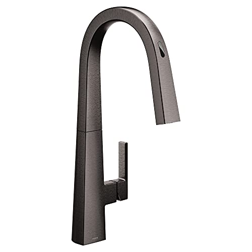 Moen S75005EVBLS Nio Collection UbyMoen Smart Pulldown Kitchen Faucet with Voice Control and MotionSense, Black/Stainless Steel