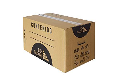 BOXPACKING | Pack 10 Cajas Cartón para Mudanza y Almacenaje | 55x35x35 cm | Con Asas | Tamaño grande