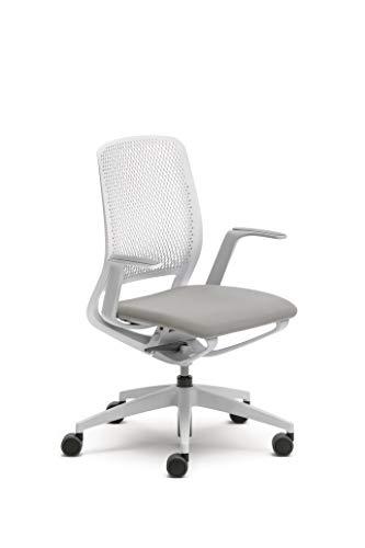 Sedus se:motion, Bürostuhl, lichtgrau/weiß, mit Armlehnen, Sitzpolster in lichtgrau, Kunststoff 950 - 1065 mm