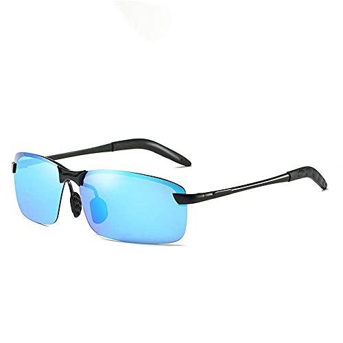 wangpu Gafas de sol estilo gafas de sol de hombre con medio marco de película de color polarizada, día y noche, iluminando la decoloración de conducción (color: verde, tamaño: talla única)